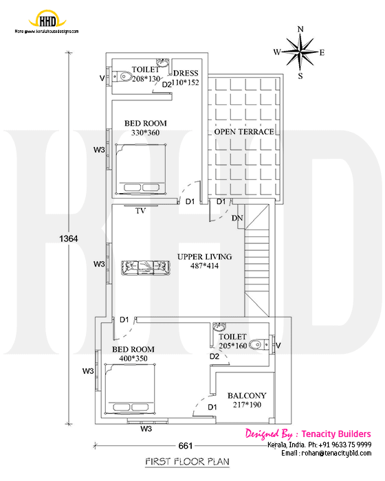 3 Bedroom Flat Roof House Plan Design 03 Ulric Home