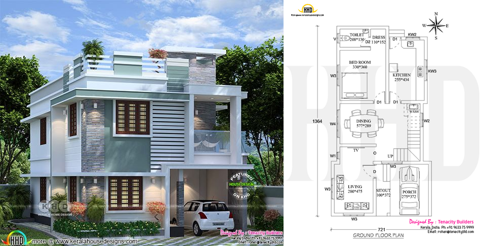 3 Bedroom Flat Roof House Plan Design 05 Ulric Home