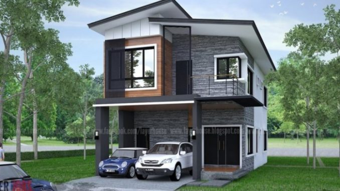 Elongated Two-storey House Design with Four Bedrooms ...
